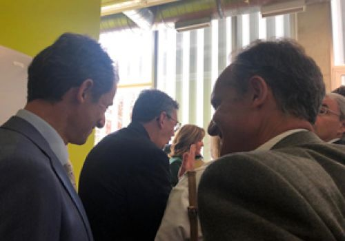 Discussing with the Spanish minister of Science, Pedro Duque.