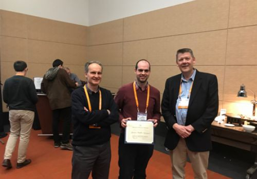 With Javier Pablo-Navarro and Prof. Steve Hill after Javier getting the Prize to the best PhD thesis in Magnetism of the American Physical Society in 2019 (Boston).
